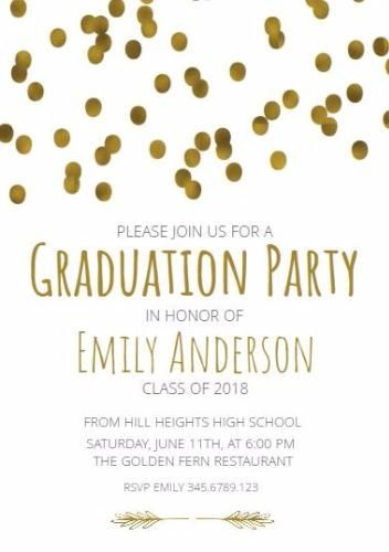 Graduation Party Invitation On White Background With Golden Circles