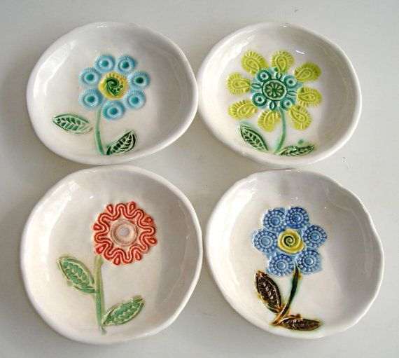 Hand painted ceramic coaster set spoon rest flower by Clayshapes, $50.00