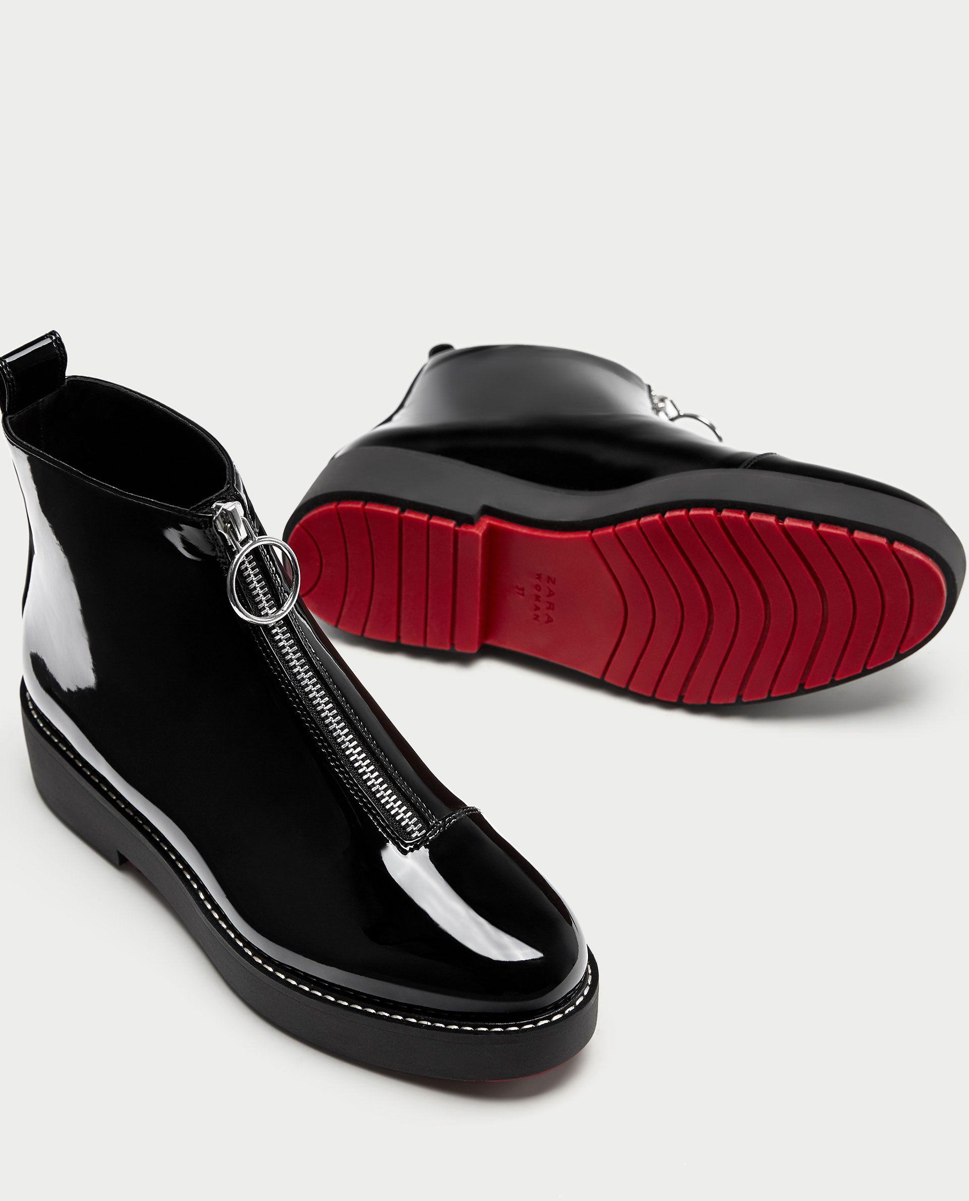 image 1 de bottines plates vernies avec tirant de zara | chaussure