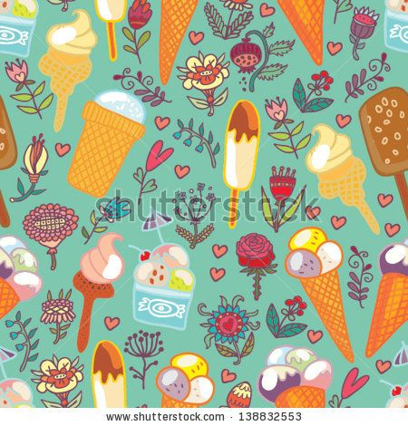 Ice cream and flowers blue seamless pattern.