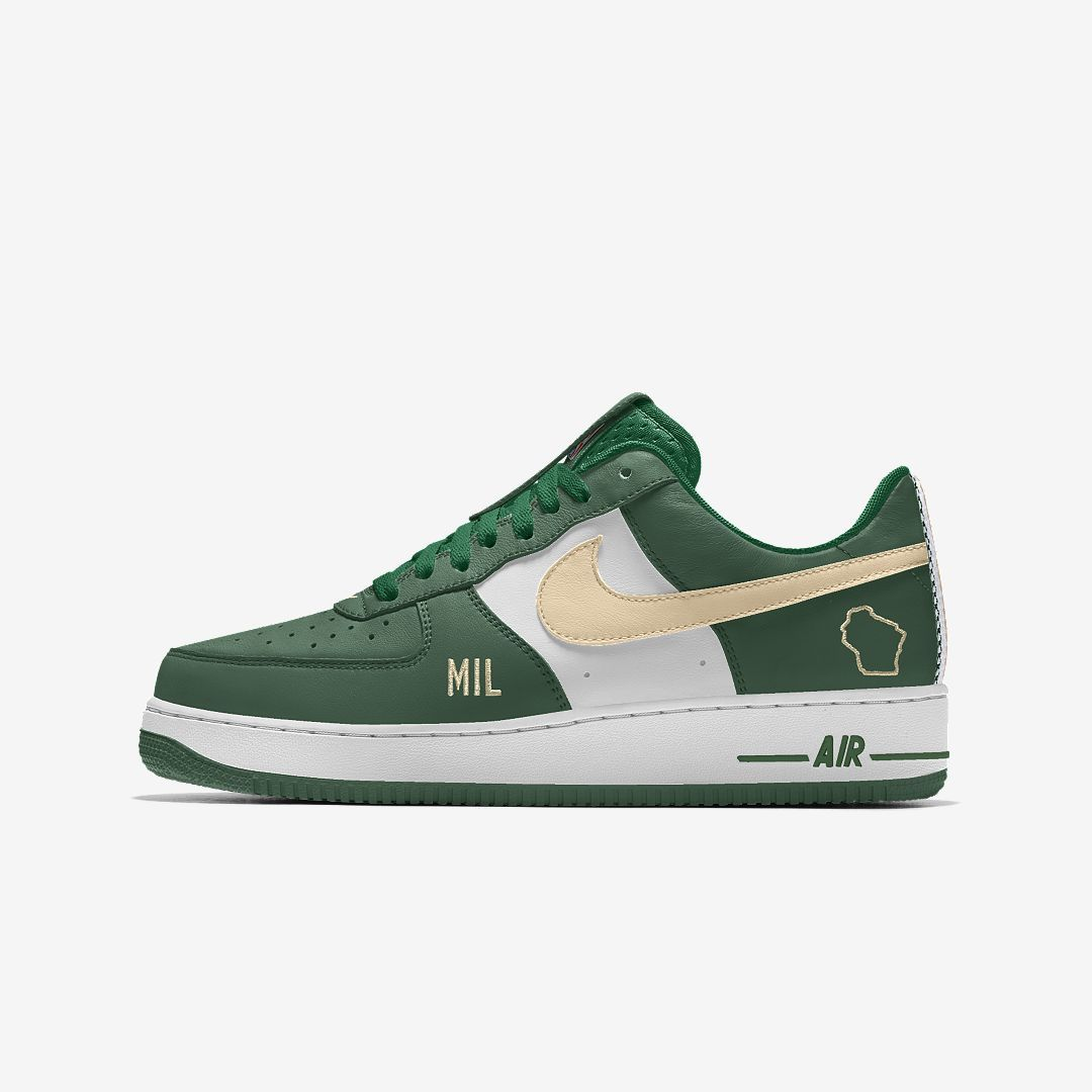 the best attitude 874b1 9dabd Nike Air Force 1 Low Premium iD (Milwaukee Bucks) Men's Shoe Size 5  (Multi-Color)