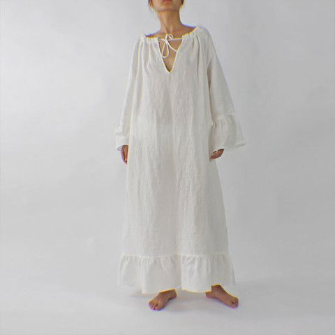 Our Raglan Long Linen Nightdress has a ruffled drawstring neckline, which loosens to a V-neck...