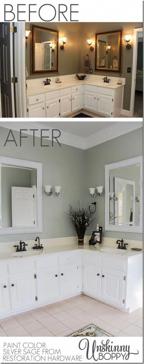 Photo of Master bathroom makeover before and after. Paint color: Silver sage through restoration …