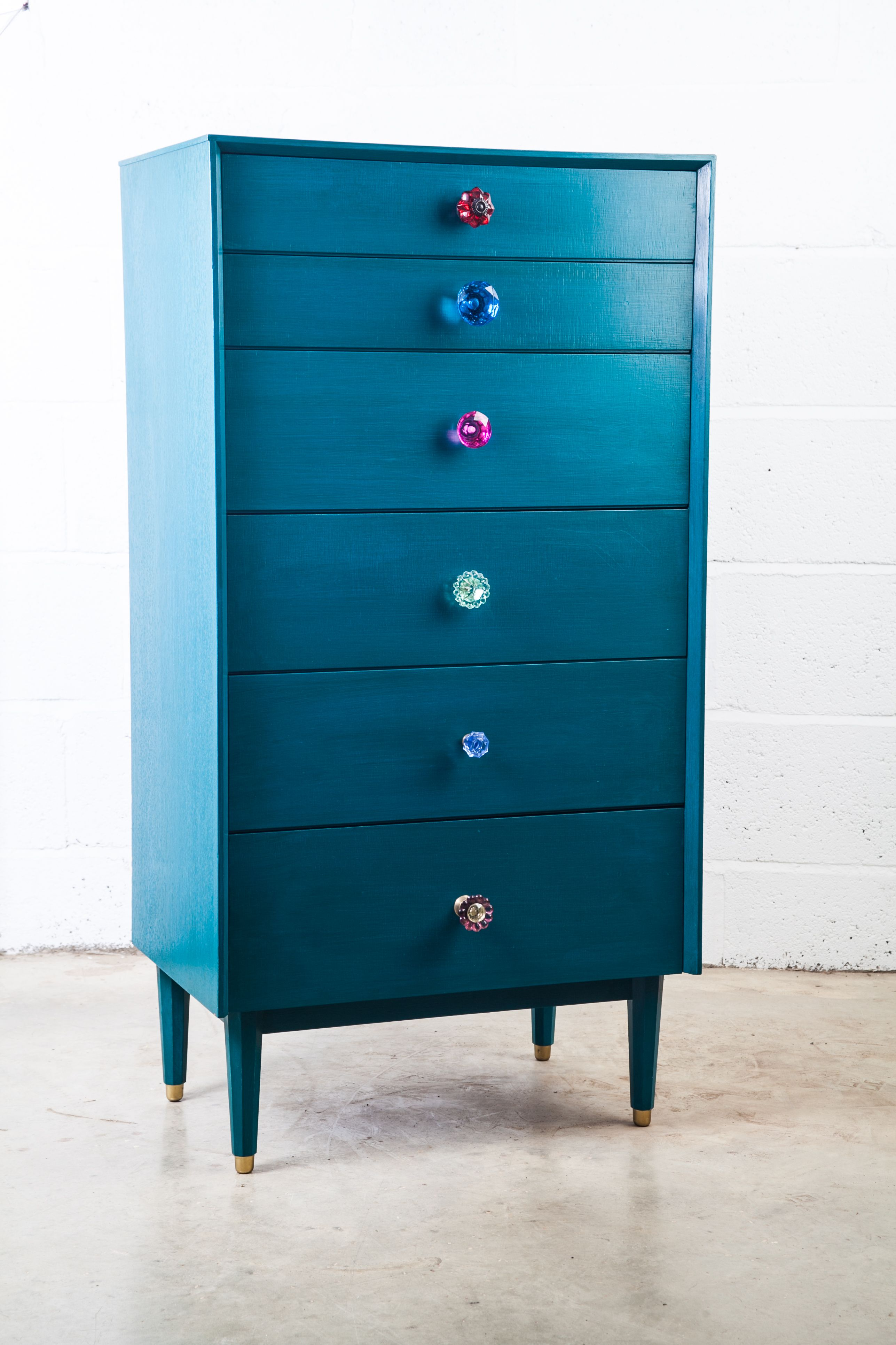 Vivienne Velvet Eccentric Painted Retro Tallboy Hand Glazed In Layers To Achieve This Striking Blue Finish You Want Gl S We Got