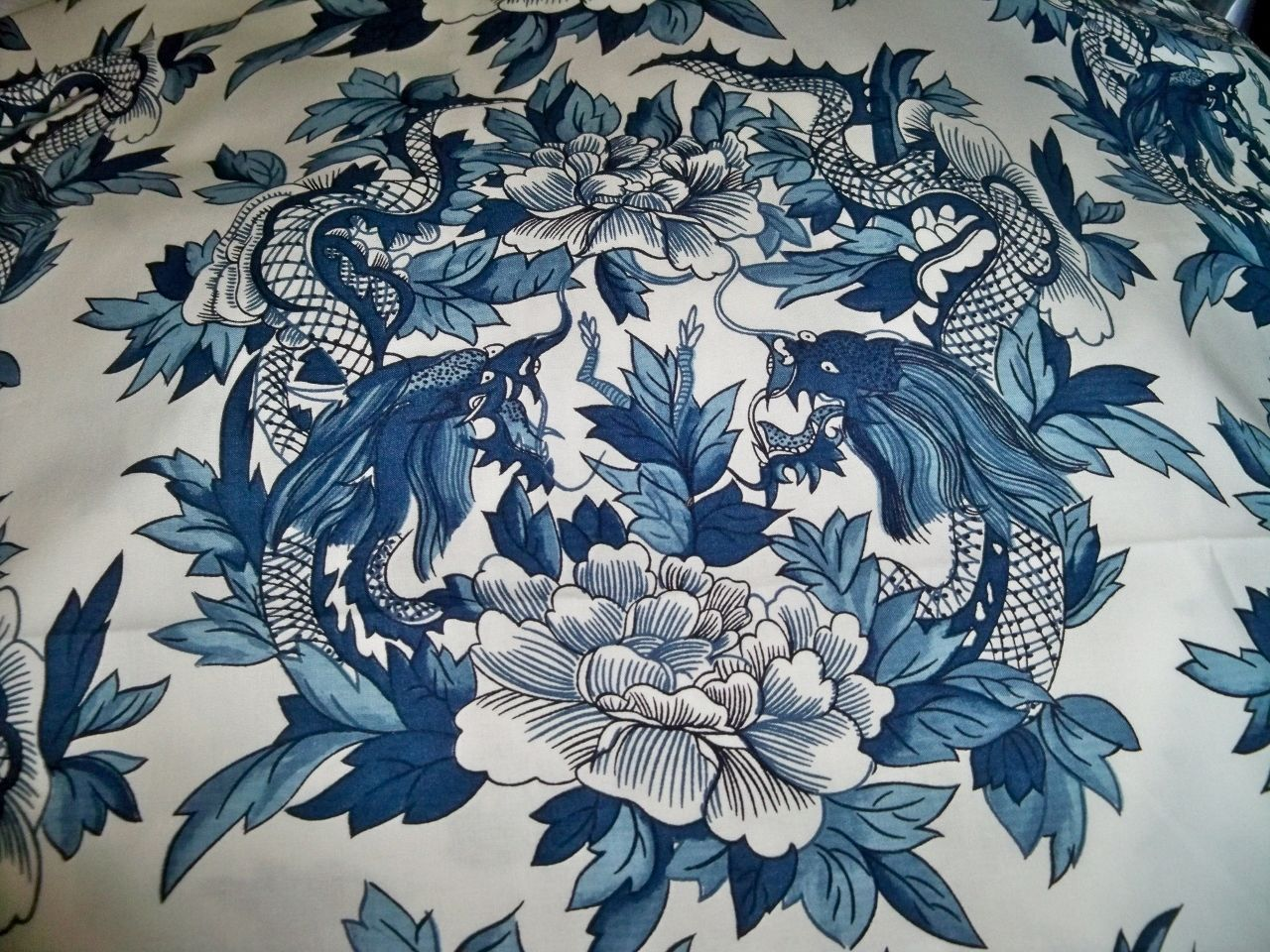 Chinoiserie Dragons Toile Fabric