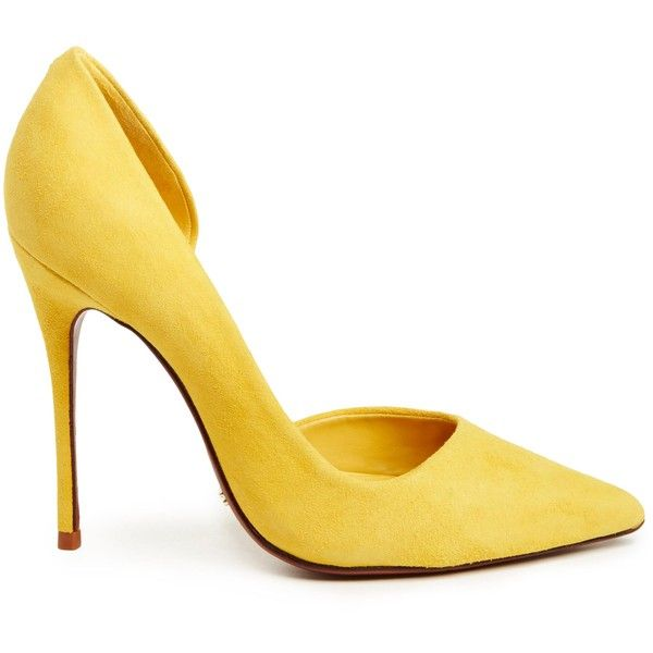 Schutz Rita Heels (€110) ❤ liked on Polyvore featuring shoes, pumps, heels, sapatos, yellow, schutz pumps, heel pump, yellow heels pumps, yellow heeled shoes and yellow shoes