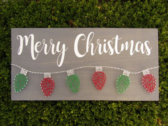 Made-to-Order Merry Christmas Lights String Art by onecraftycole