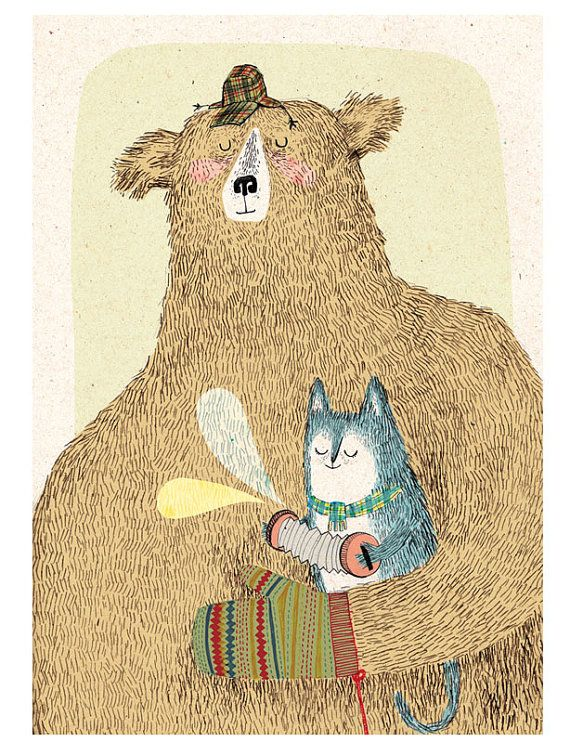 bear and cat a3 digital print