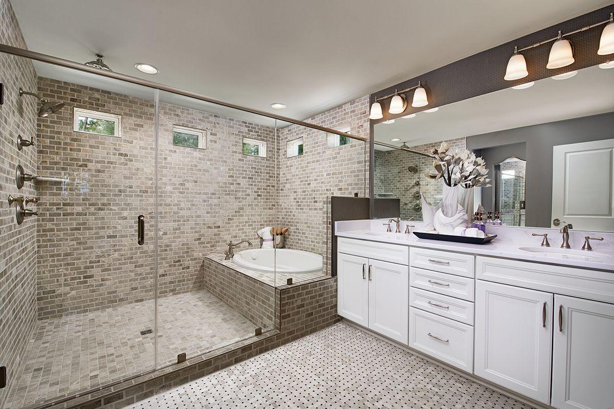 Stunning Shower Soaking Tub Amherst Model Home Master Bath