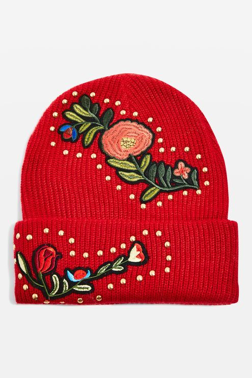 72ae70aa7a1 Studded Floral Beanie Hat - Topshop
