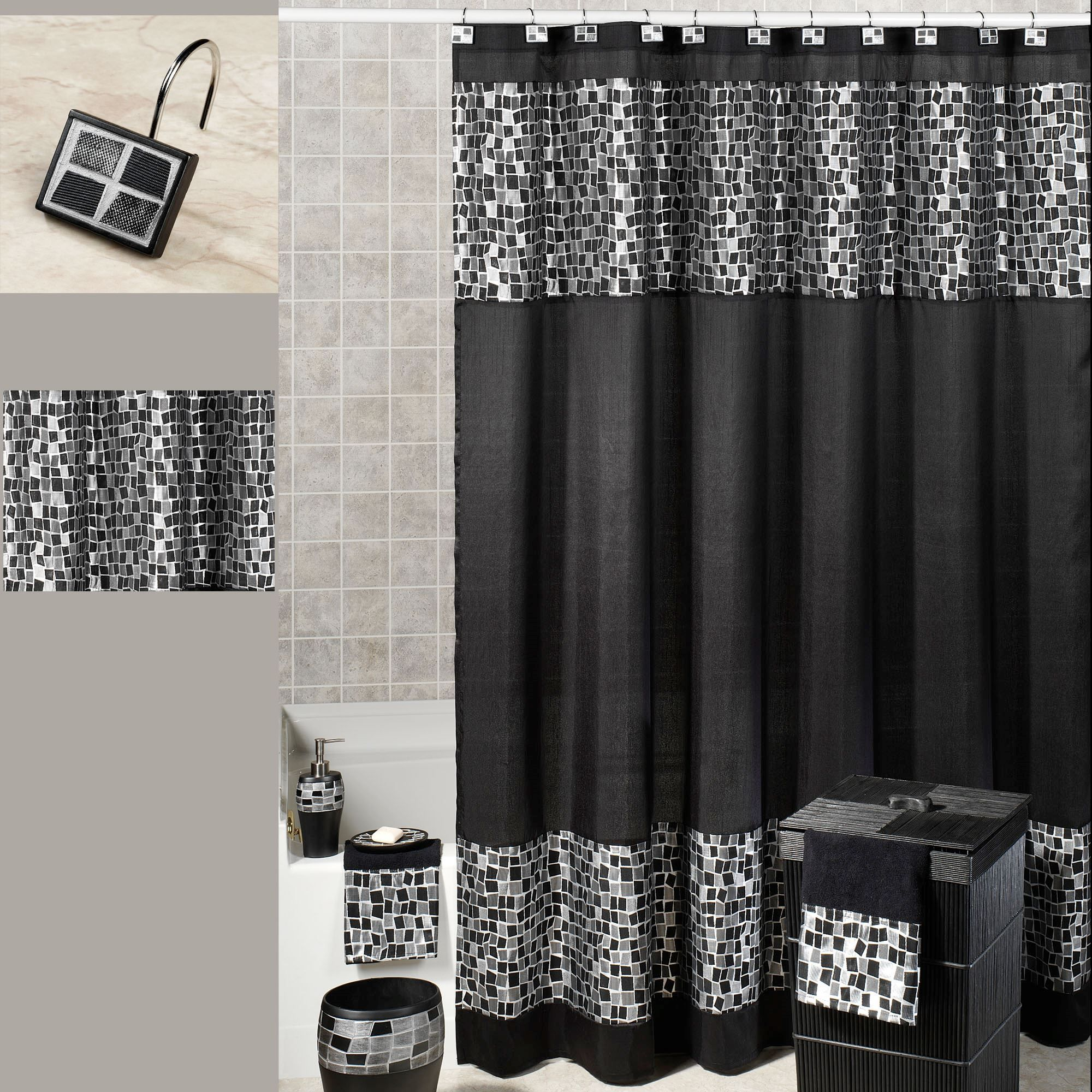 Black Mosaic Stone Shower Curtain 70 X 72 Gray Shower Curtains