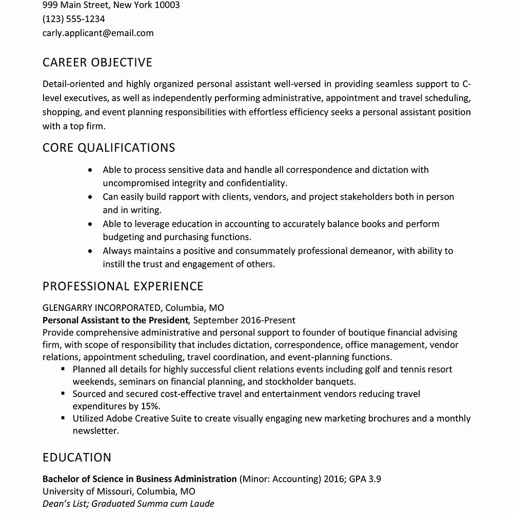 Personal assistant Resume Examples Lovely Personal