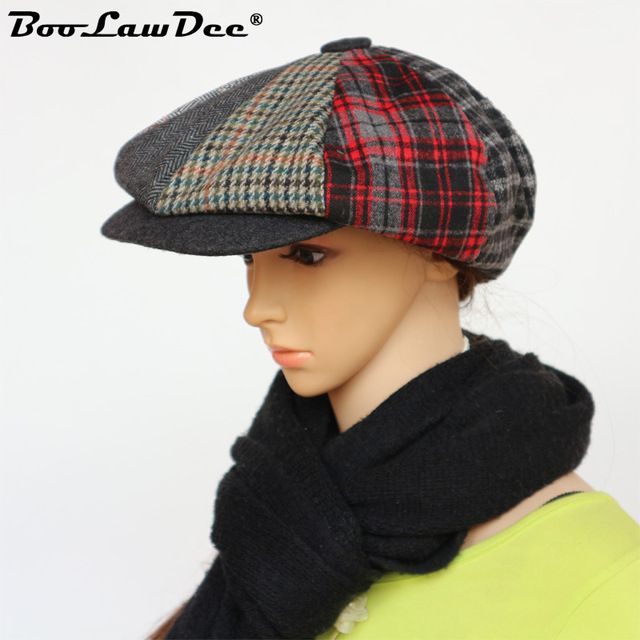 Patchwork Newsboy Cap Women Cotton Plaid Octagonal Hat Classic Summer Autumn