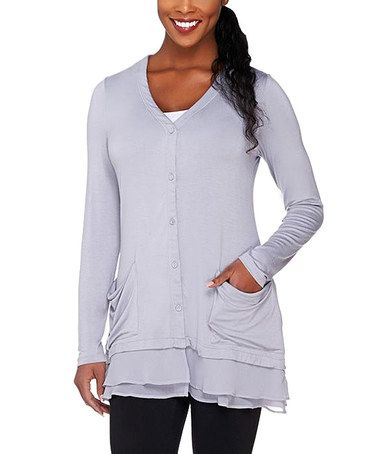 Another great find on #zulily! Storm Cloud Ruffle Button-Front Cardigan #zulilyfinds