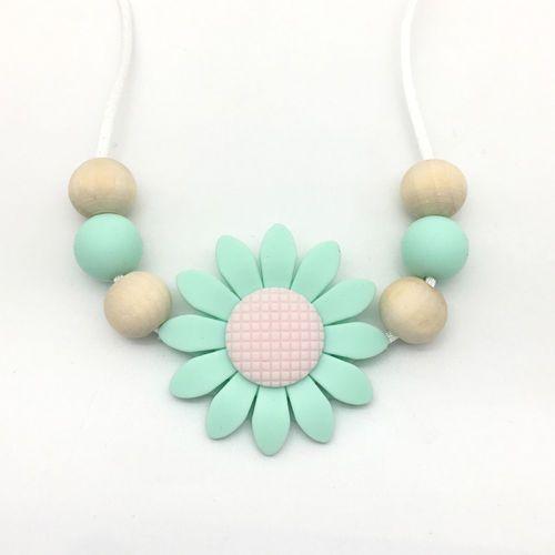 Sunflower Silicone Teether Nursing Mom Necklace Teething Baby Sensory Jewelry