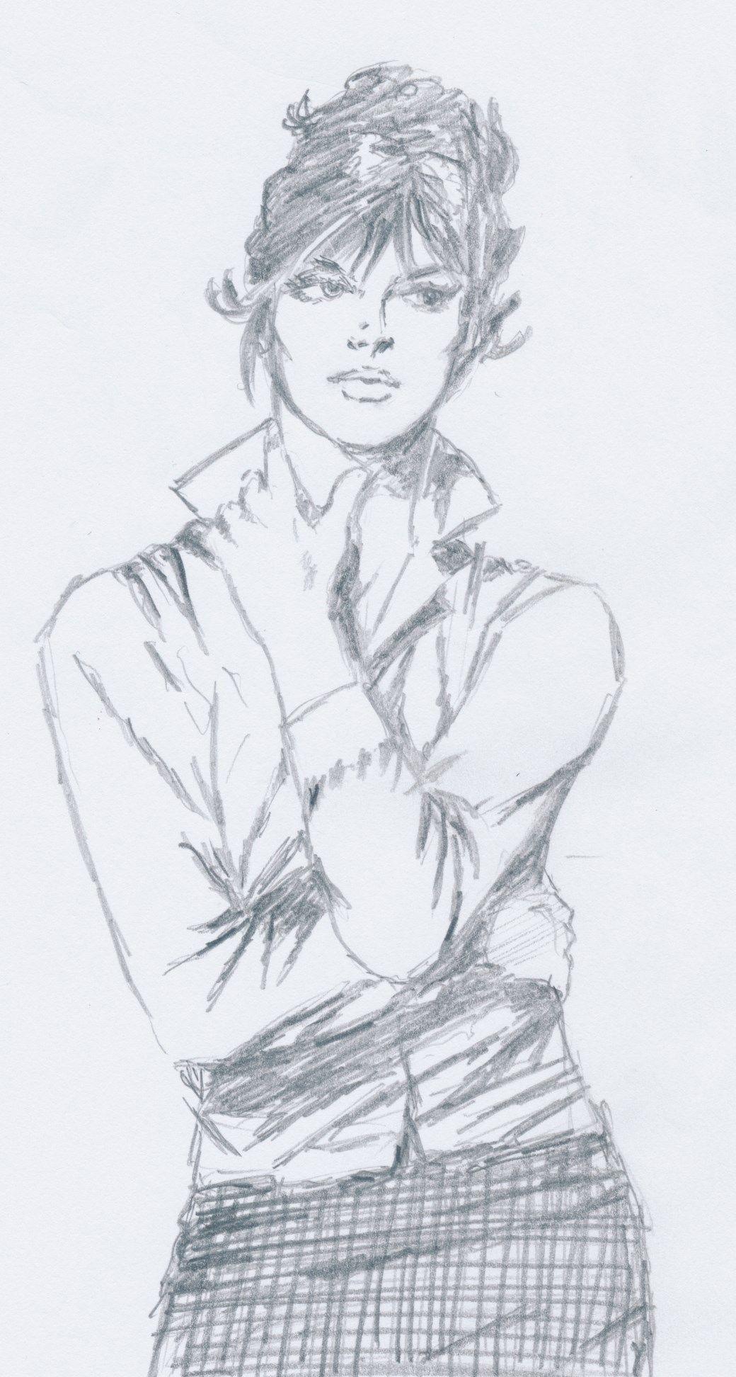 Modesty Blaise Pencil Sketch Sketches Illustration Art Retro Art