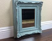 GORGEOUS BLUE MIRROR Ornate Mirror Wall Mirror French Provincial Mirror Wall Art Chic Mirror Duck Egg Blue Mirror - pinned by pin4etsy.com