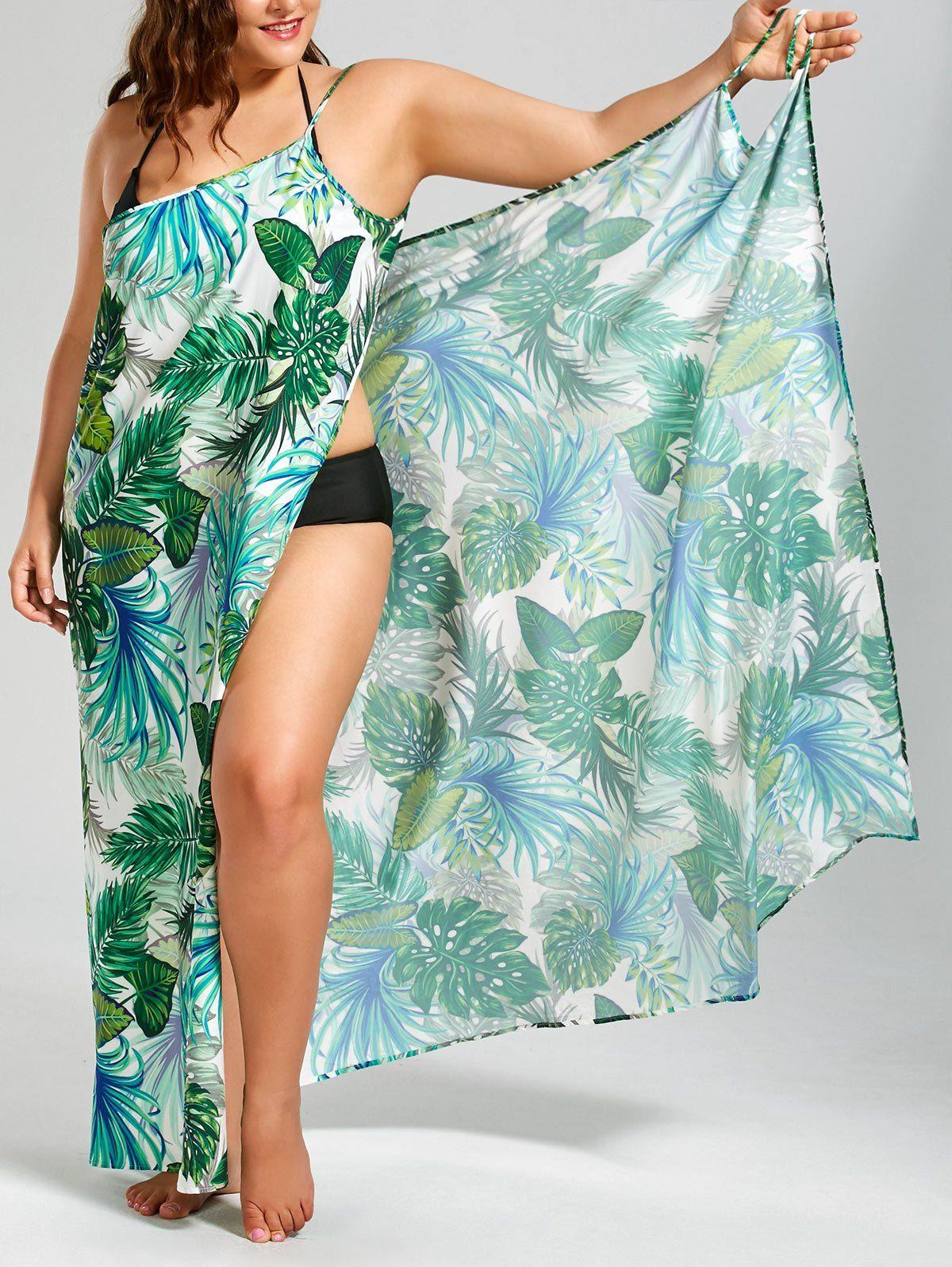 3ce6b9e24cc5b Plus Size Palm Leaf Print Maxi Cover Up Dress