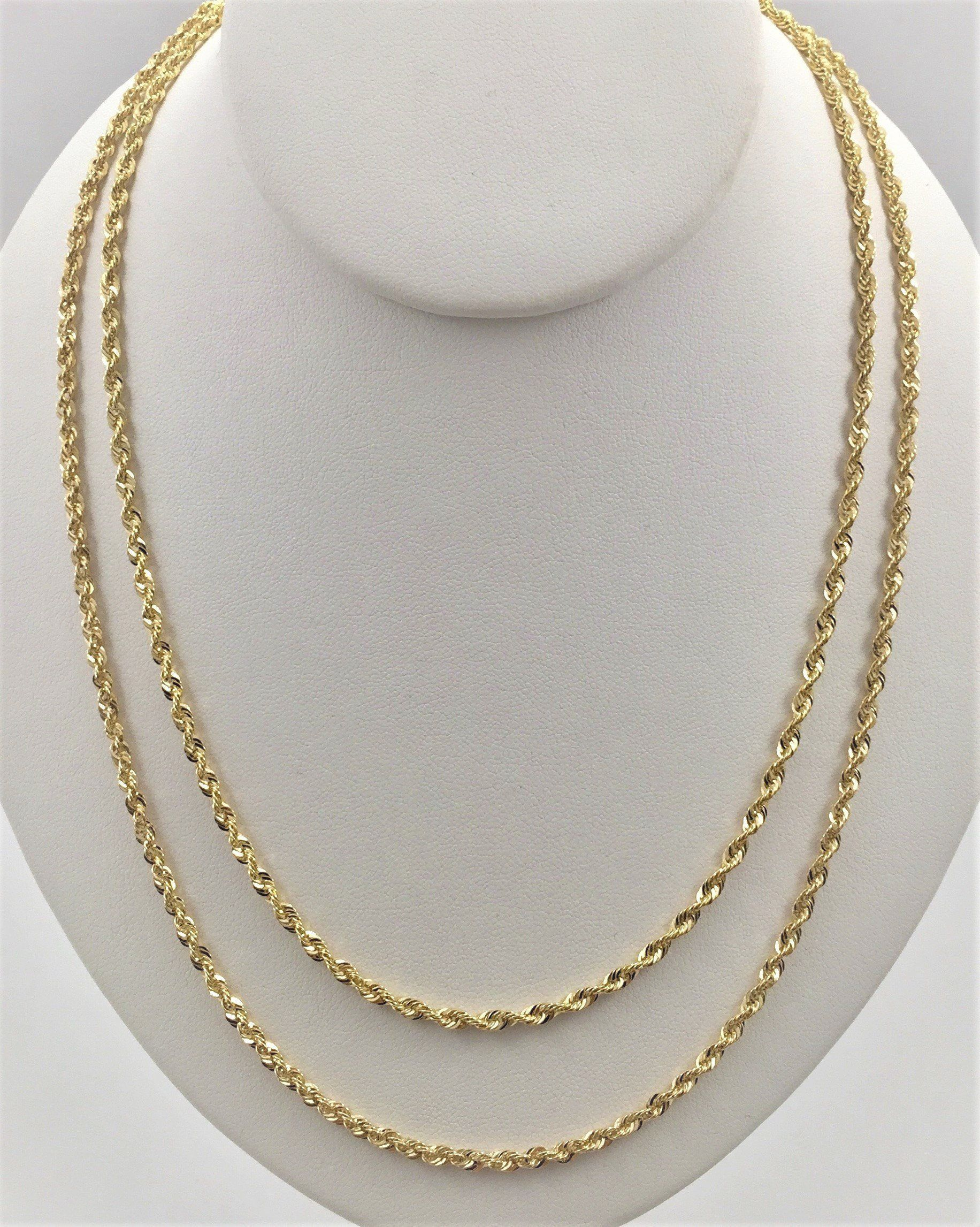 100 Real 10k Gold Rope Chain 5mm 4mm 3mm Real Gold Necklace Chains Gold Neck Chain Real Gold Necklace