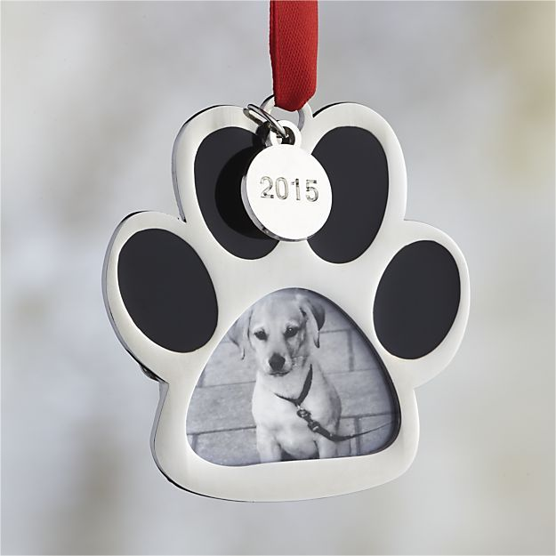 Silver Dog Paw Print Photo Frame Ornament with 2015 Charm in Animal ...