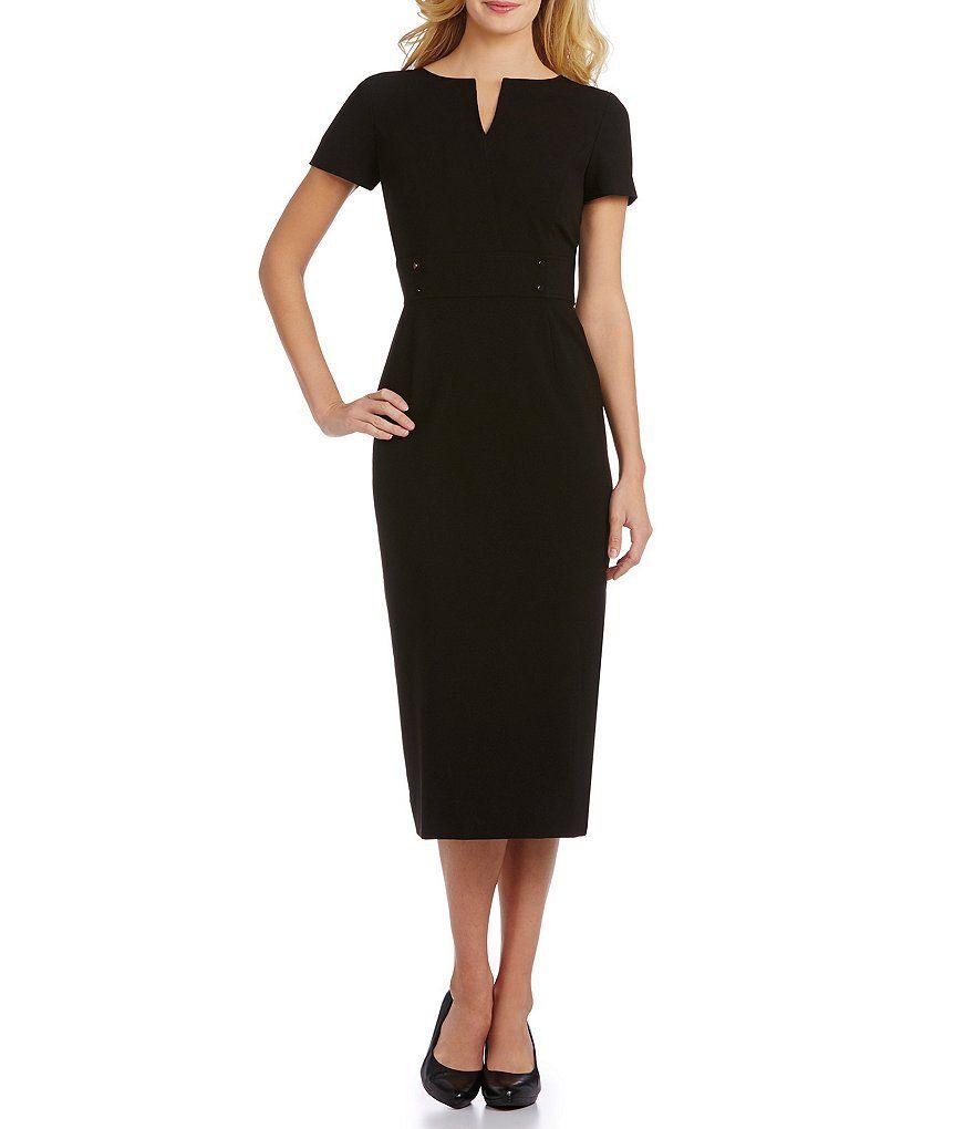 Preston York Blake Notch V Neck Midi Length Sheath Dress Dillard S Black Dress Accessories Black Dress Outfits Womens Black Dress [ 1020 x 880 Pixel ]