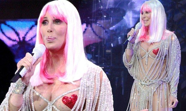 She is one of pop music's ultimate showgirls. And, to prove it, 67 year-old Cher took the stage in Boston, Massachusetts, on Thursday in a variety of dramatic costumes which left fans stunned.