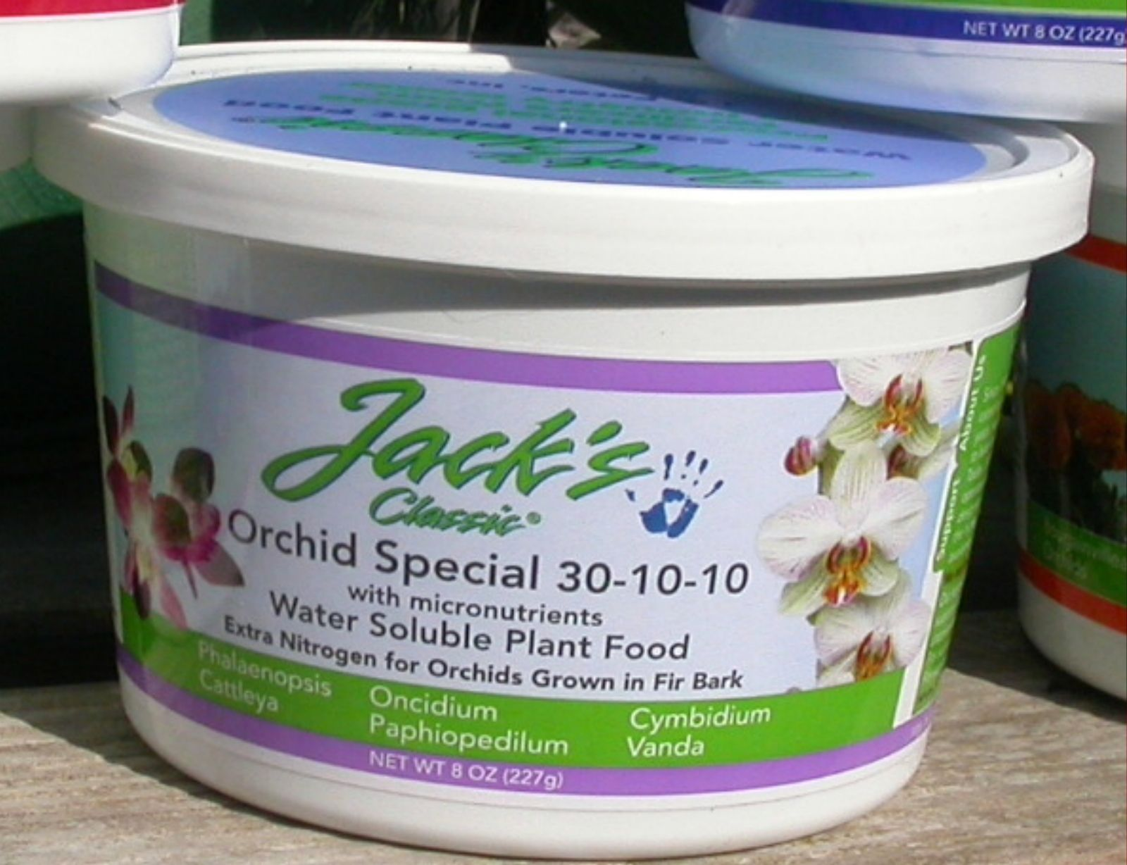 Jack's Classic Orchid Special Fertilizer 30-10-10 with Micronutrients. Especially formulated for orchids grown in fir bark.   - 8 oz.    30-10-10   $8.95 ea.