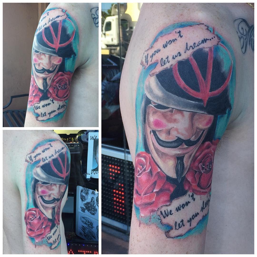 "ed8eddf0ed239 Allen Kopp Tattoo @allenkopptattoo ""V for vendetta just added the blues  today, the rest is healed. #vforvendetta #wyldchyldmerrick"
