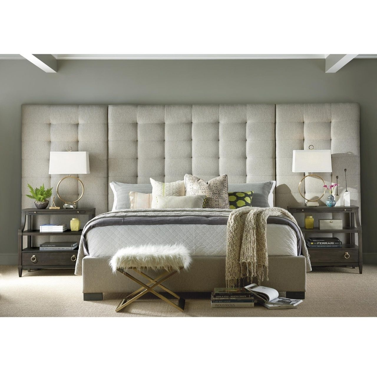 Camille Panel Box Tufted Grey Fabric Upholstered King Bed