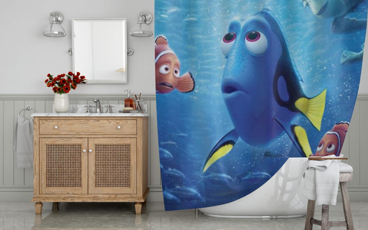 Finding Dory And Nemo Shower Curtain At Personalized Shower Curtain Shower Curtain Decor Fabric Shower Curtains