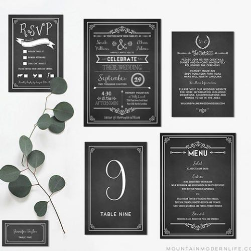 FREE Printable Wedding Invitation Template is part of Chalkboard wedding invitations, Wedding invitations printable templates, Wedding invitations, Free printable wedding invitations, Unusual wedding invitations, Wedding invitation sets - Recently engaged and planning a rustic or vintageinspired wedding  Download this FREE Wedding Invitation Template and print out as many as you need!