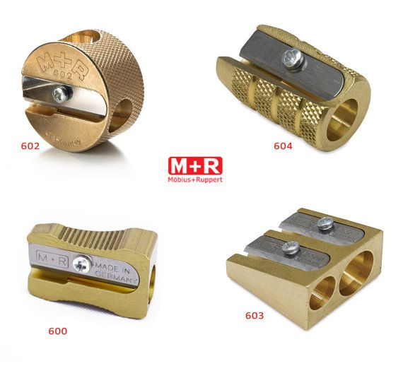 MOBIUS /& RUPPERT SOLID BRASS PENCIL SHARPENER Twin Wedge