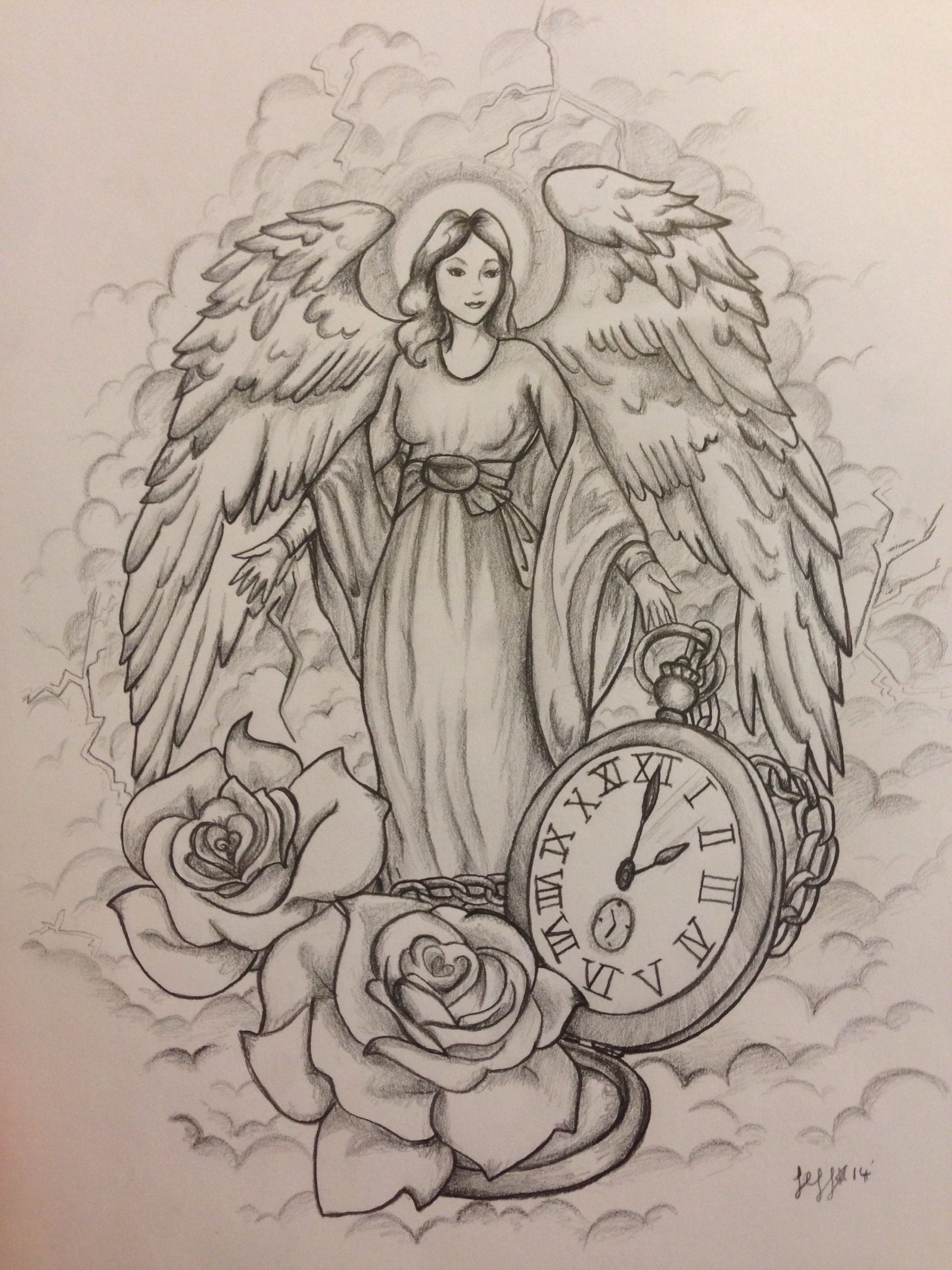 Guardian angel tattoo design, commission by Jeffica Alice ...