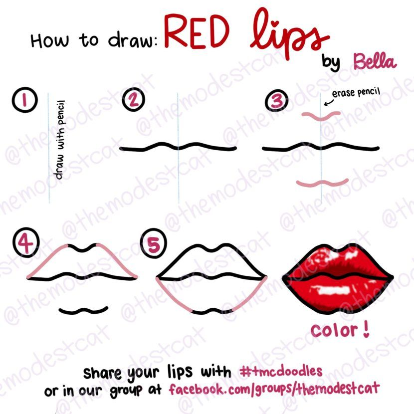 How To Draw Lips Easy Doodle Tutorial With Bella At Themodestcat
