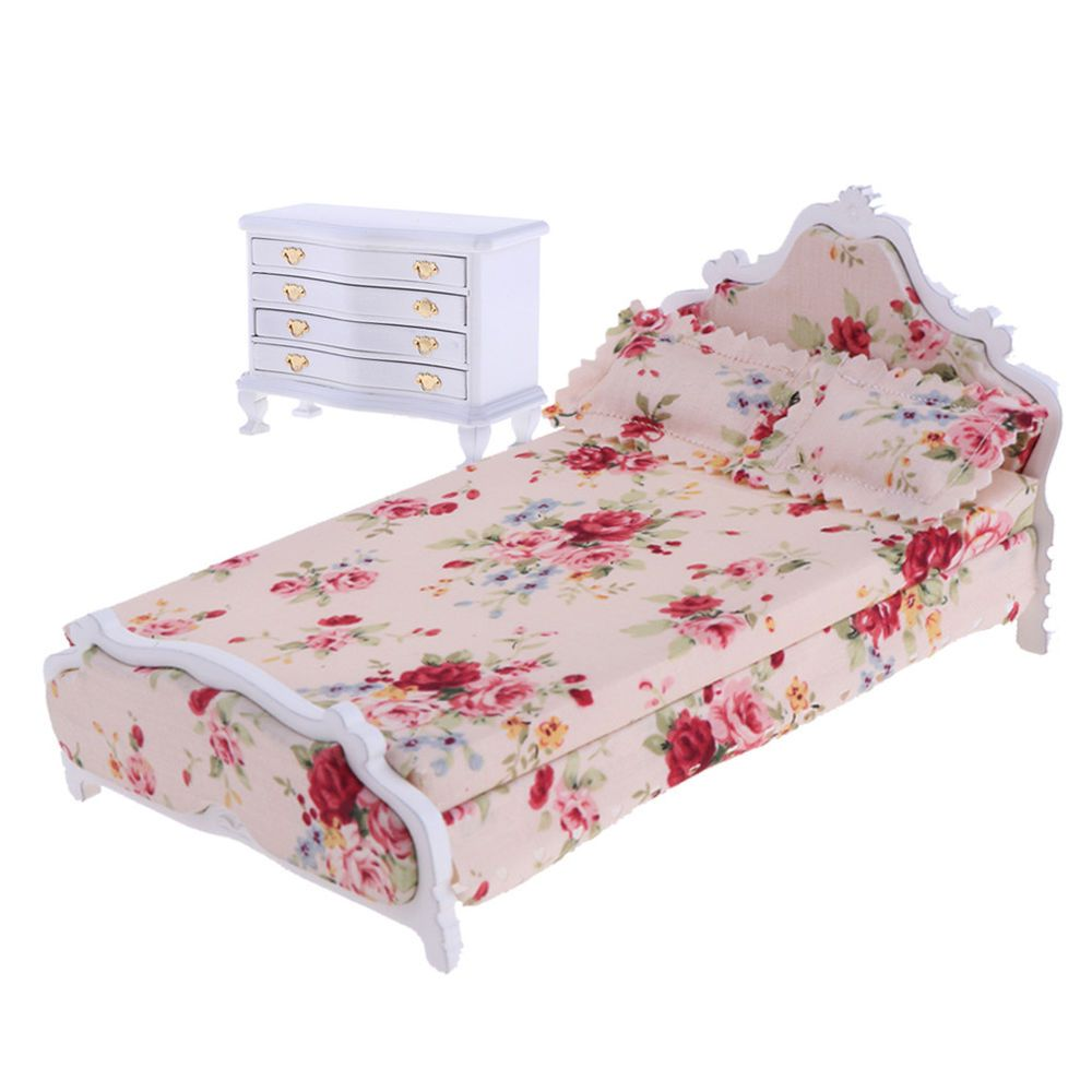 1 12 Holz 4 Schubladen Nachttisch Amp Floral Bett Fur Puppenhaus