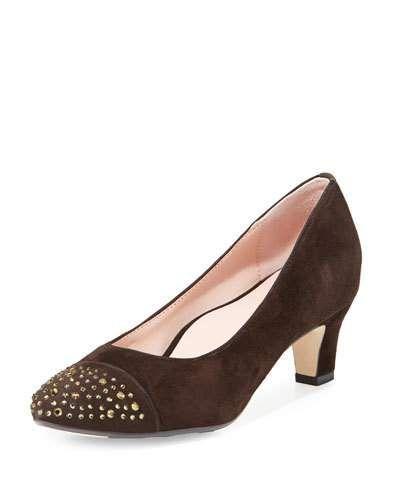 TARYN ROSE TRULIE CRYSTAL SUEDE LOW-HEEL PUMP, CHOCOLATE. #tarynrose #shoes #pumps