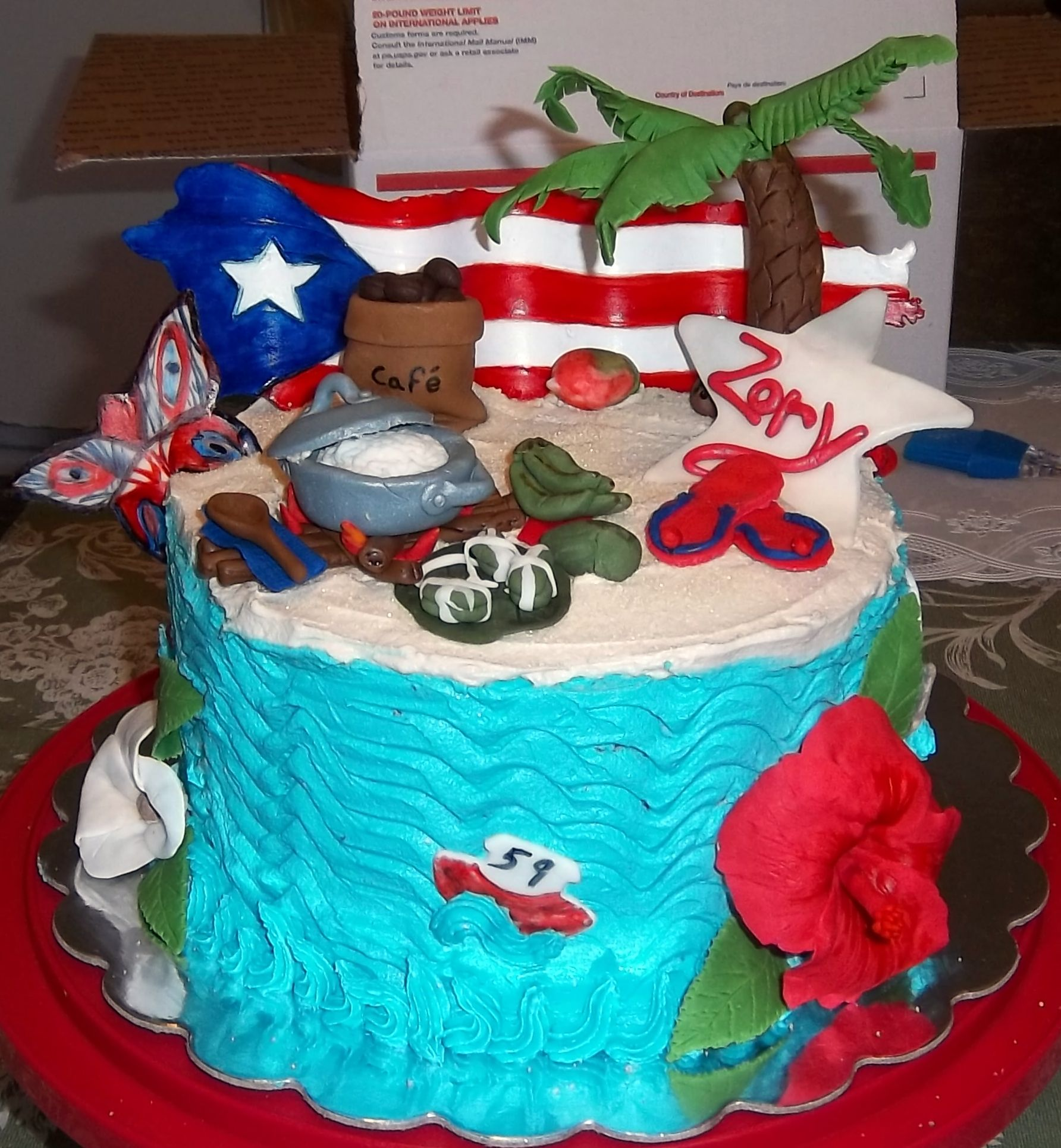 Puerto rican themed birthday cake made by me april 2013 for Acanthus decoration puerto rico