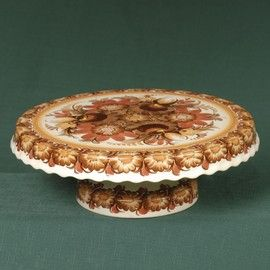 Polish Pottery Standing Cake Plate in Brown Pattern. The decoration of the pottery is based on folkloric and traditional designs