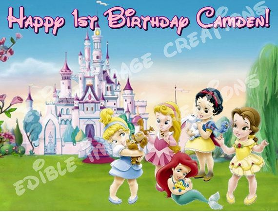 Disney Baby Princesses Frosting  sheet cake by CustomImageboutique