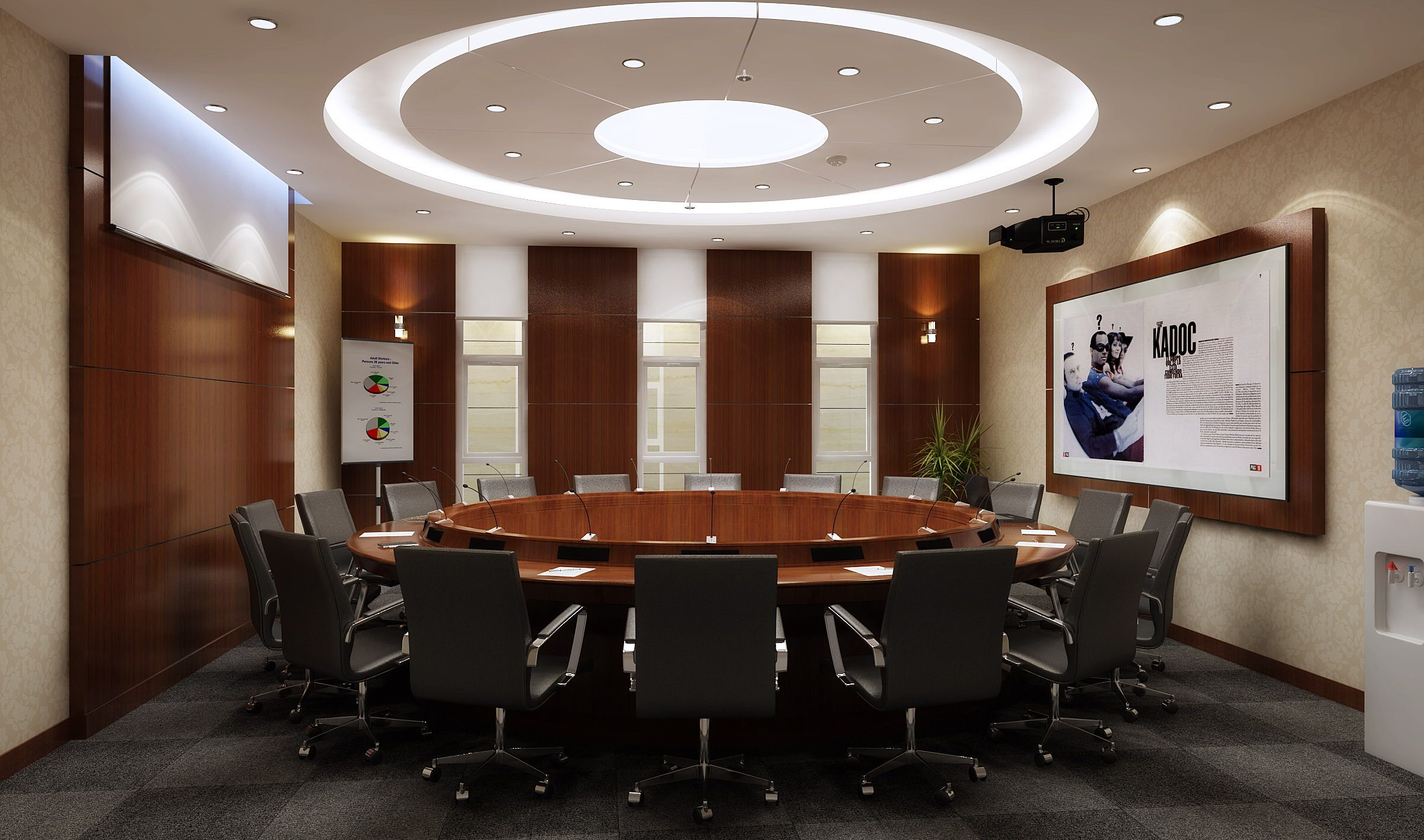 Elegantconferenceroomwithroundtabledmodeldwgjpg - Elegant conference table