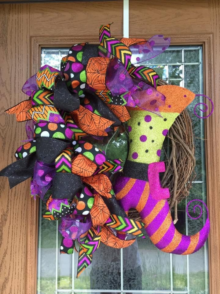 Halloween Wreath Halloween Witch Boot Wreath Witch Wreath Halloween Grapevine Wreath Witch Boot Grapevine Wreath by ThatWreathLady on Etsy