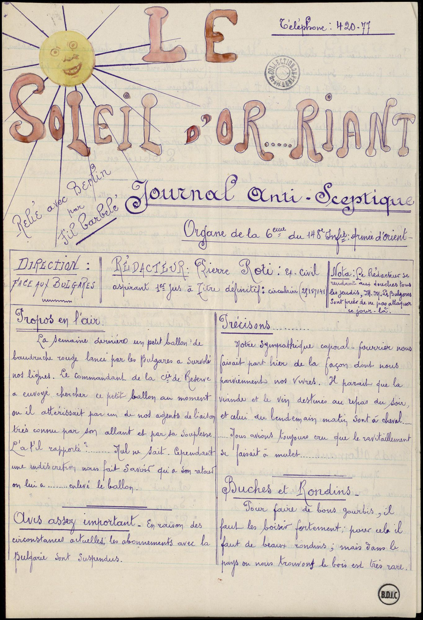le soleil d or riant is a rare example of a trench newspaper