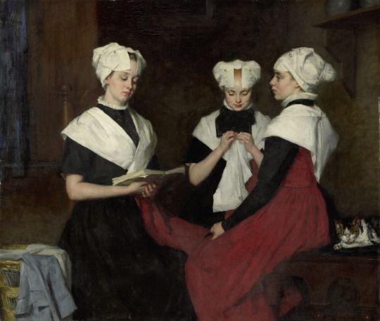 """""""Three Girls from the Amsterdam Orphanage"""" (1885). Thérèse Schwartze (Dutch, 1851–1918). Oil on canvas. Rijksmuseum, Amsterdam."""
