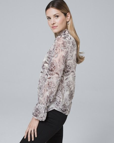 70b2301a2c55a9 Women s Ruffle-Trim Floral Blouse by White House Black Market