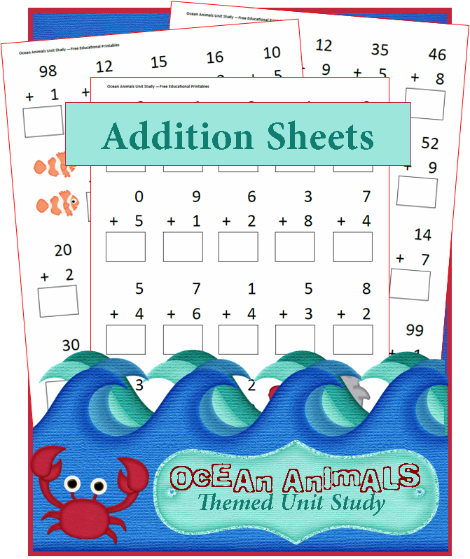 Ocean Animals Addition Worksheets | Addition worksheets, Unit ...