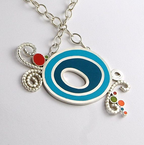 Resin Necklace - Materials: resin, sterling silver, sterling, silver, blue resin, red resin, orange resin, green resin, 925 siver $325.00