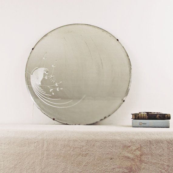 Vintage Large Mirror Wall Mirror Art Deco Round Mirror Beveled Mirror Etched Mirror Peacock Parrot Art Deco Mir Art Deco Mirror Etched Mirror Mirror Wall