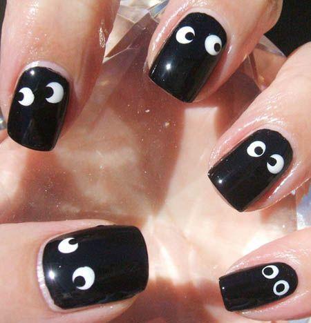 Funny Nail Art Nails Pinterest Black White Nails White Nail