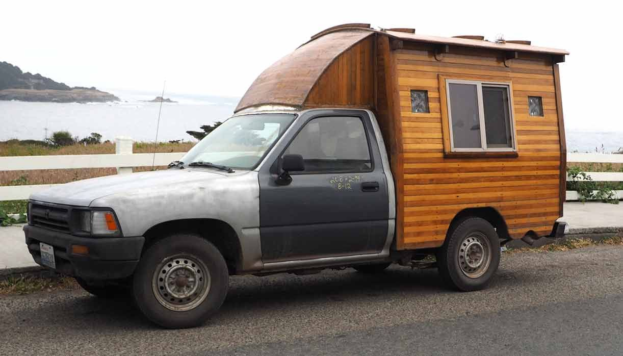 Lloyd s pickup truckwith homemade wooden camper