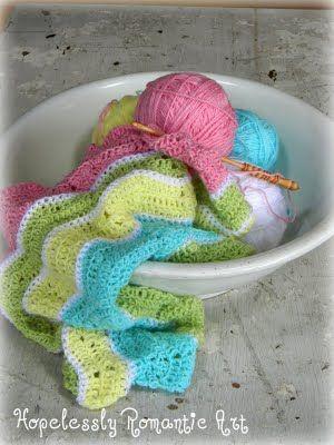 Chevron pattern baby blanket in progress.